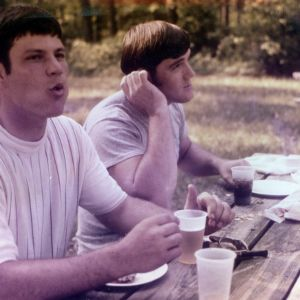 Two men at picnic
