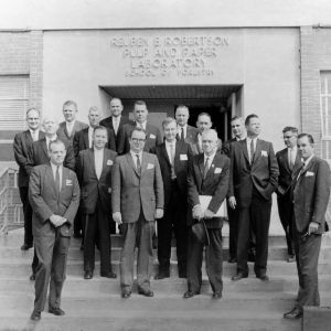 Group photograph in front of Reuben B. Robertson Pulp and Paper Laboratory