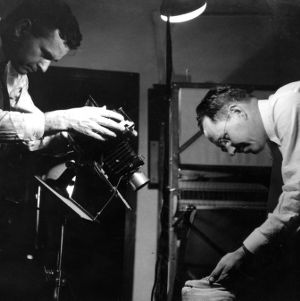 Landis Bennett and A. D. Stuart taking photographs