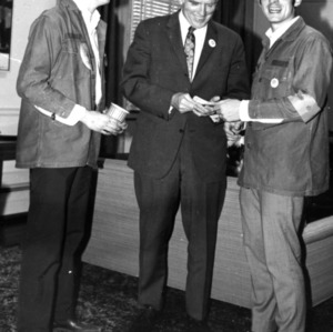 John T. Caldwell meeting with students