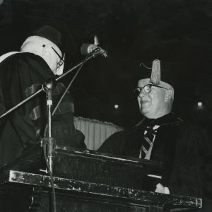 Buckminster Fuller receiving honorary degree