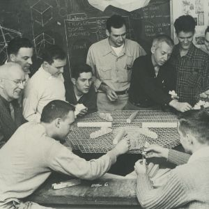Buckminster Fuller and work project group designing a geodesic cotton mill