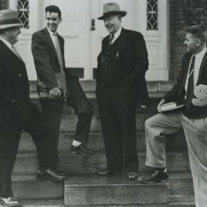 Chancellor John W. Harrelson, Student body president Vincent C. Outland, Alumni Walter J. Matthews, and Basketball captain Lee Terrill