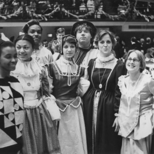Students in costume at Governor Hunt's inaugural ball