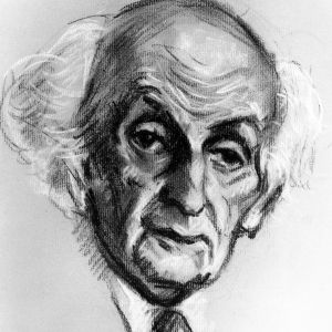 Cornelius Lanczos portrait charcoal drawing
