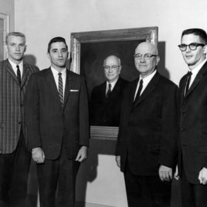 Engineers' Council officers with Dean J. Harold Lampe and Lampe's portrait