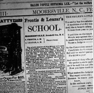 Advertisement from Iredell County newspapers about Mooresville private school run by Professor Augustus Leazar