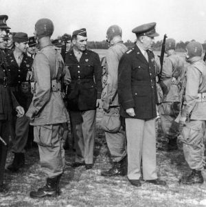 Army's Commanding Chief of Staff, George C. Marshall looking over airborne troops at Fort Bragg