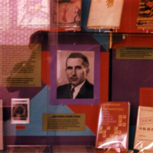 Cabinet display commemorating Jack Levine