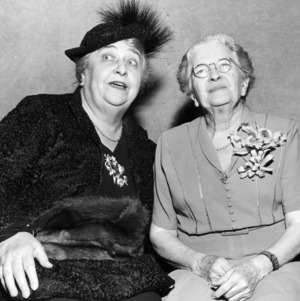 Jane S. McKimmon with actress Jane Darwell for radio dramatization of McKimmon's life