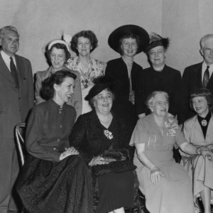 Jane S. McKimmon, Ruth Current, Jane Darwell, and others in New York for the radio dramatization of McKimmon's life story