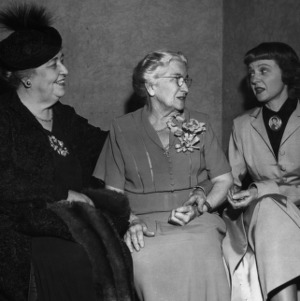 Jane S. McKimmon with actress Jane Darwell and other for radio dramatization of McKimmon's life