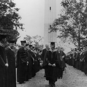 Commencement ceremony in front of Memorial Bell Tower