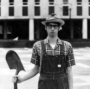 Eric Plow, Student Government Presidential Candidate, 1970-1971, campaigning in farmer's outfit
