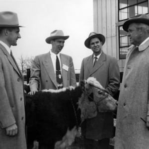 Dr. J. W. Pou, Ed Aycock, and others with cow