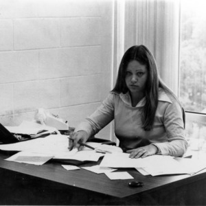 LuAnne Rogers, Student Government President, at desk
