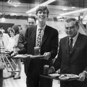Ralph Scott and students in Leazer Cafeteria