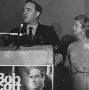 Robert Scott giving speech with Jesse Rae Scott, during his campaign for NC governor