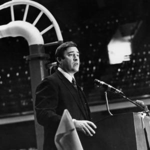 Governor Robert Scott giving speech in auditorium