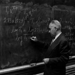 Professor Rufus H. Snyder teaching at blackboard
