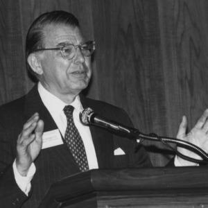 C. D. Spangler speaking at the Jane S. McKimmon Center