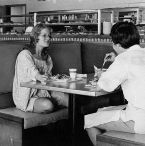 Student body president Cathy Sterling at lunch counter