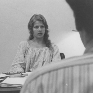 Student body president Cathy Sterling in office