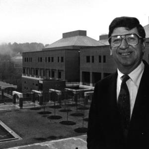 Armando Baqueiro Senra in front of Building