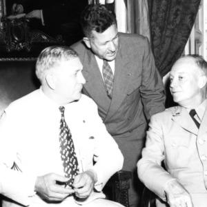 Governor R. Gregg Cherry, Chancellor John W. Harrelson, General Dwight D. Eisenhower