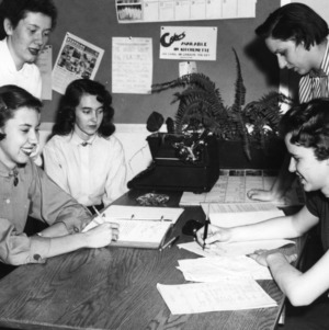 Female students at desk