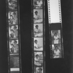 Film strip of student in dorm and bird's eye view of students on lawn