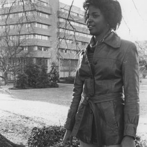 Brenda Edmonds in front of D. H. Hill Jr. Library