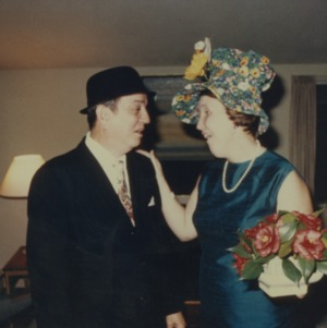 Man and woman in silly hats