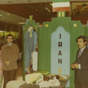 People around Iran booth at international fair