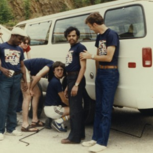 Students outside of van