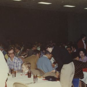 Crowd dining at event