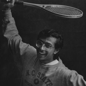 Mahesh Rao portrait, with raquet