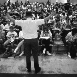 Professor in front of classroom