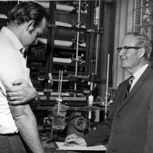 Ron Rousseau and Warren L. McCabe with scientific equipment