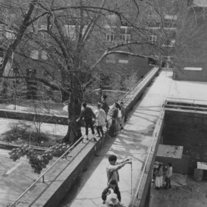 Students on elevated pedestrian walkway