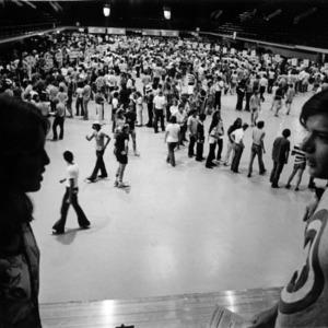 Student registration at Reynolds Coliseum