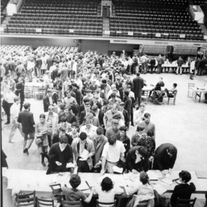 Student registration at Reynolds Coliseum