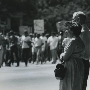 People observing demonstration