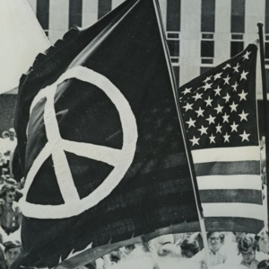 Peace flag and American flag at peace demonstration
