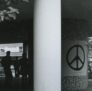 Peace sign banner on campus
