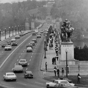 "Peace demonstration ""March Against Death,"" crossing Arlington Bridge"