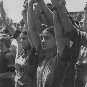 Students holding hands at demonstration