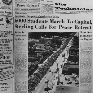 "Edition of Technician headlining ""6000 Students March To Capitol, Sterling Calls For Peace Retreat"""