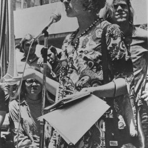 Cathy Sterling giving speech at demonstration