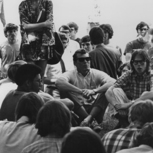 Students including student body president Cathy Sterling at Peace Rally, protesting the Kent State Tragedy and invasion of Cambodia